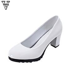 Vtota Насосы Женские туфли женская обувь на высоком толстом модные повседневная женская обувь Рабочая обувь Chaussure Femme Zapatos Mujer FC07