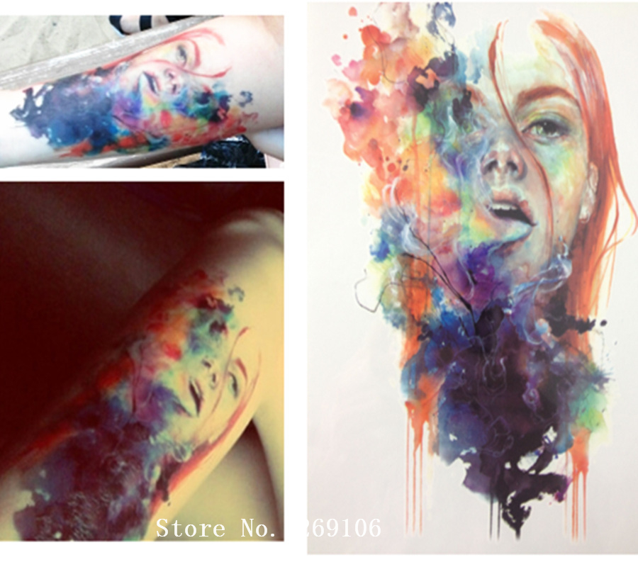 NUEVA LLEGADA 21X15 CM Colorida Chica Pegatinas Temporales Del Tatuaje Arte Corp
