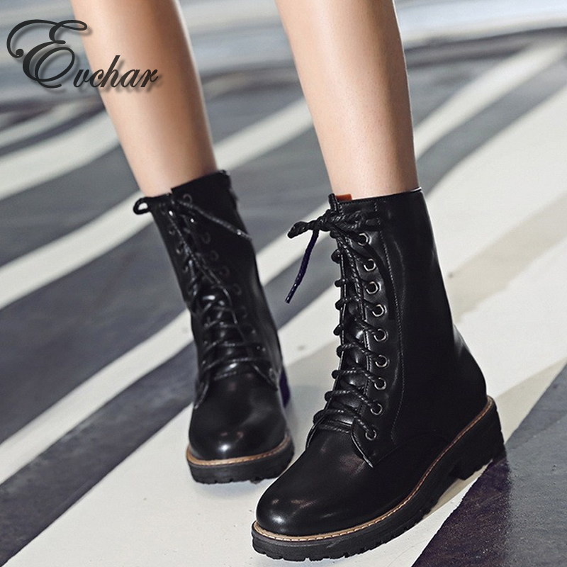 ФОТО Brand New Womens Vintage autumn Winter Round Toe Lac- Up square Low Heel Military Riding Combat Martin Mid Calf Boots size 34-43