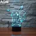Novelty Pokemon Go Pikachu Lamp Night Light Mega Collectible 3D Touch Table lamp 7 Color Bulbasaur 3D NightLights For Kids Gift