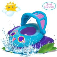 Baby Swimming Float Inflatable Kids Swim Boat Pool Ring Sun Canopy Water Fun Toy