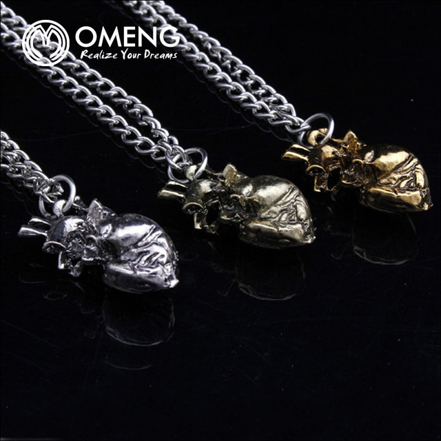 OMENG anatomical heart necklace vintage anatomy heart antique silver ...