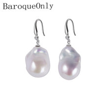 BaroqueOnly 925 sterling silver jewelry 15-23mm Big size 100% real freshwater pearl earrings for women Top quality gift box E(China)