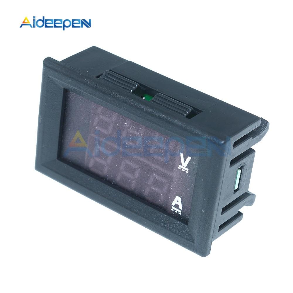 """Mini Digital Voltmeter Ammeter DC 100V 10A Voltmeter Current Meter Tester 0.28"""" 0.28 inch Blue+Red LED Amp Dual LED Display 10"""