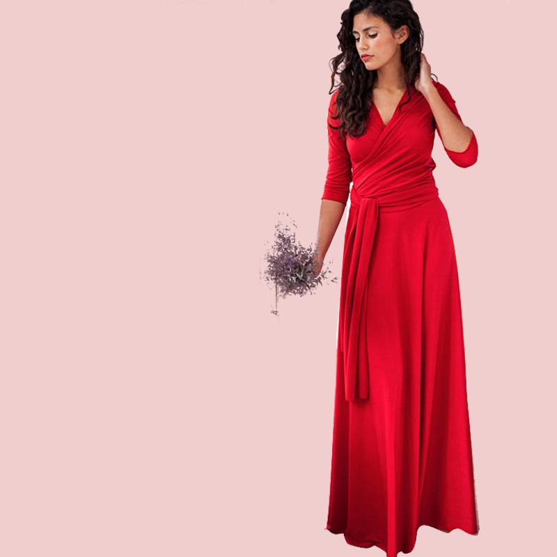 QIUXUAN Multiway Sexy Dress Women Red Party Long Bandage Convertible Dresses Infinity Wrap Lady Solid Color Dress