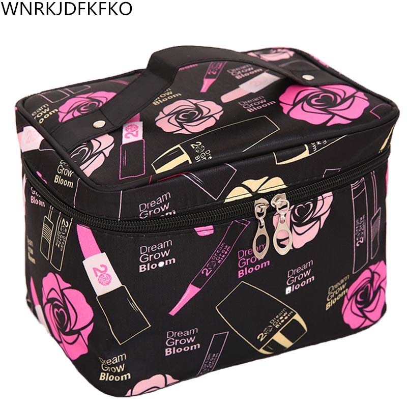 2019 Portable Girls Square Lip Print Pattern Cosmetic Bag Travel Makeup Essential Organizer Zipper Makeup Pouch Toiletry Kit Bag