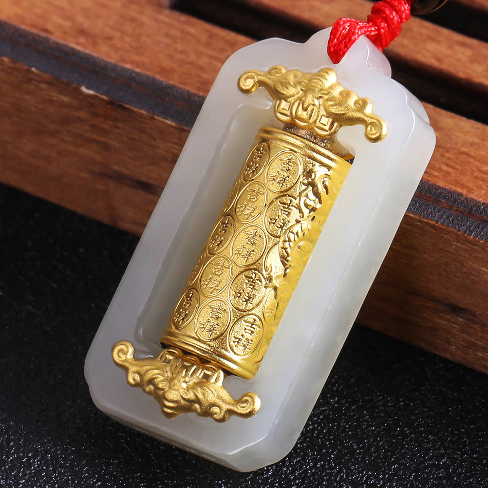 Fine Transit Gold Pendant with Jade Pendant White Hetian Jade Necklace with Stereo Hard Gold Inlaid Bamboo Jewelery Gift Box yu xin yaun hetian white jade drop pendant silver inlaid with jade pendant