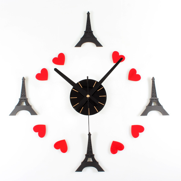 Romantic French Style Bell Tower Paris Fashion Creative Self-adhesive DIY Hanging Wall Clock