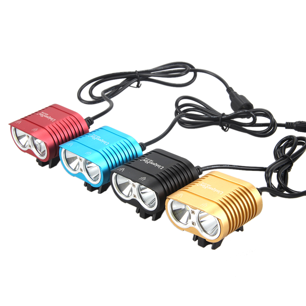 2x  XM-L2 LED 5000Lumen Head FlashLight Cycling Headlight Headlamp + 8800mAh Waterproof Battery Pack + Charger waterproof 5000 lumen 2x xml u2 led cycling bicycle bike light lamp headlight headlamp 6400mah battery pack charger