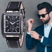 лучшая цена Mens Watches Top Brand Luxury Rectangle Complete Calendar Quartz Watch Male Business Leather Sport Wristwatch Relogio Masculino