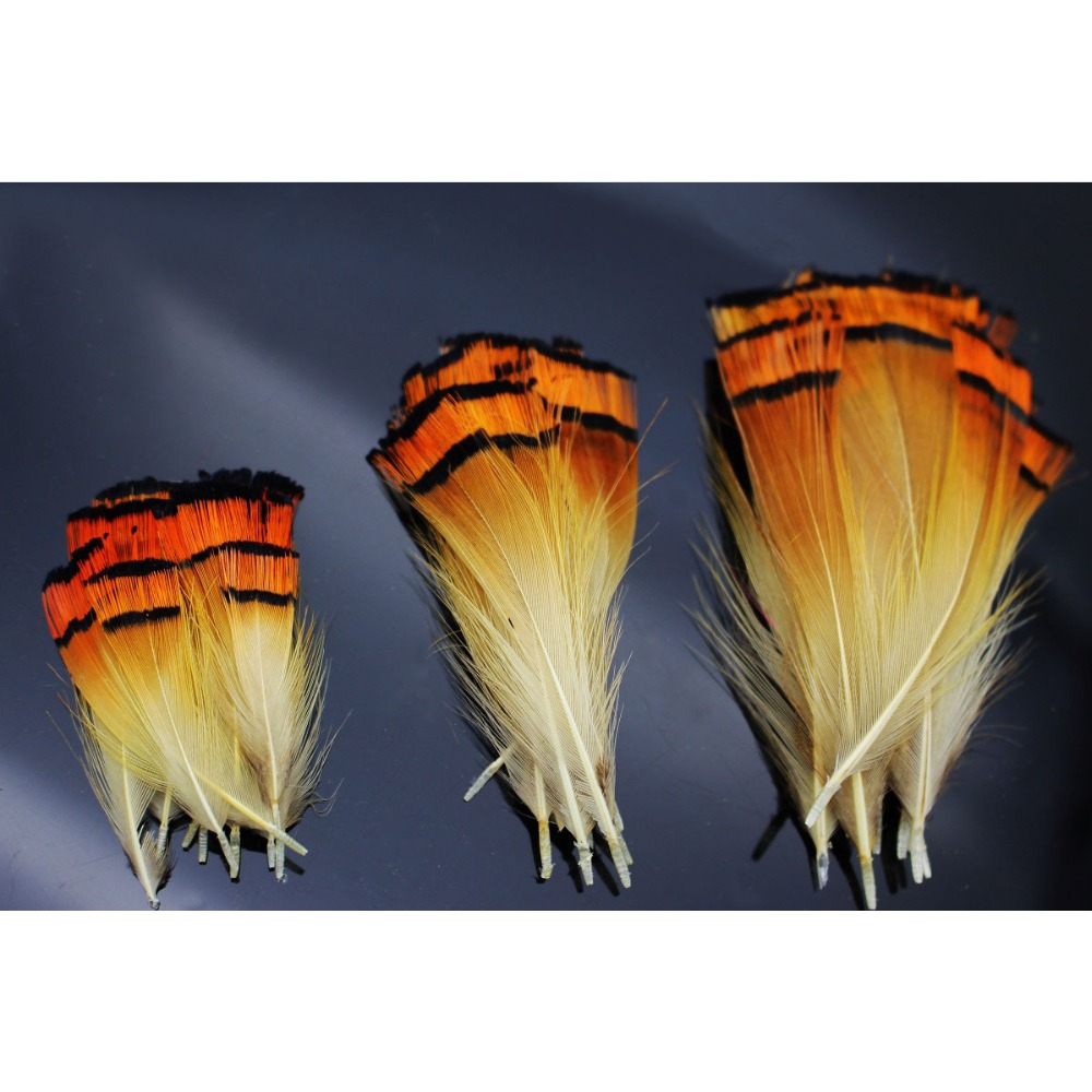 50pcs 3sizes Natural Golden Color Pheasant Head Crest Feather Fly Tying Material