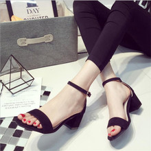 2017 Summer New High Heels Buckle Thick With Sandals Summer Package With Sexy Thin open-toed Shoes  .LD-528