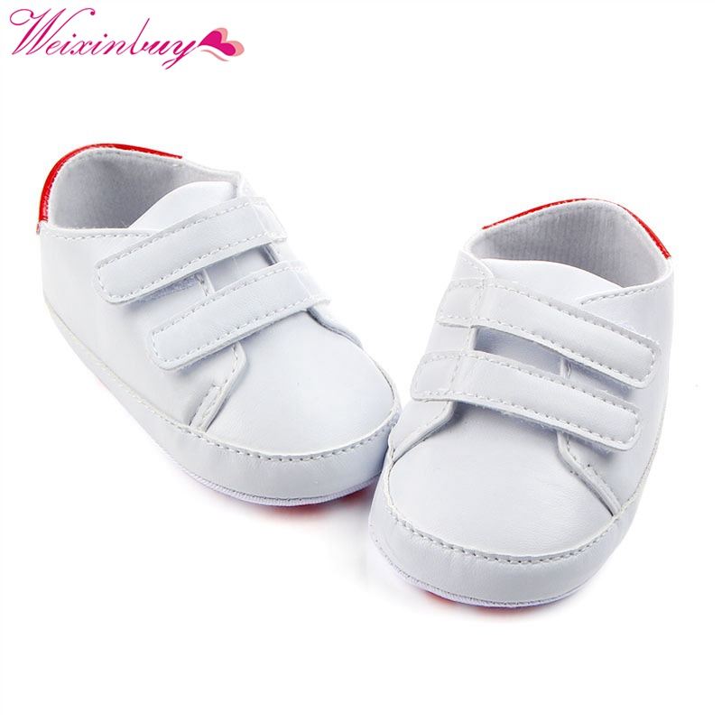 Newborn PU Leather Pure White Baby Shoes Classic Casual Kids Boy Girl First Walkers Soft Soled Sports Sneakers