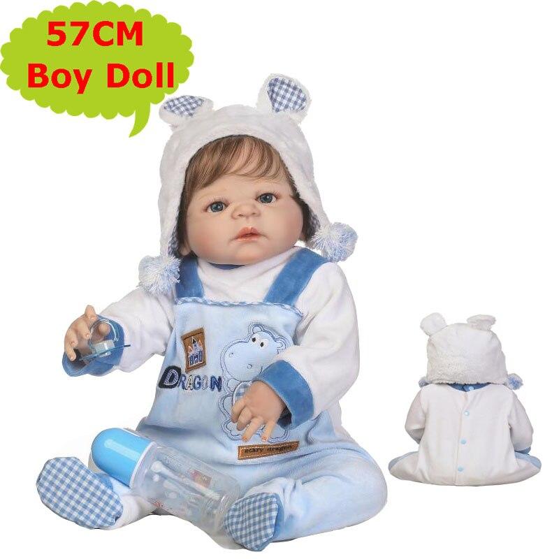 """Oyuncaklar ve Hobi Ürünleri'ten Bebekler'de NPK 57CM Güzel Tam Vücut Silikon Yeniden Doğmuş Bebe erkek oyuncak bebek Gerçekçi Bebek Çocuk Yumuşak Peluş 22 """"oyuncak bebek giysileri En Iyi çocuklar Için hediye'da  Grup 1"""