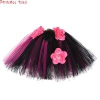 Mid Calf Girl Tutu Skirt With Hat Halloween Shantou Costume Children Girl Sweet Birthday Party Flower Skirt Black&Pink