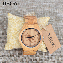 TIBOAT Mens Top Brand Luxury Watches Men Creative Lovely Small gecko Wood Watch Full Bamboo Quartz Wristwatch horloges mannen