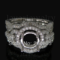 Vintage Rodada SI Diamante Semi Monte Ajuste Do Anel Em 14Kt White Gold Diamond Ring Wedding Band Set 8x8mm G090458