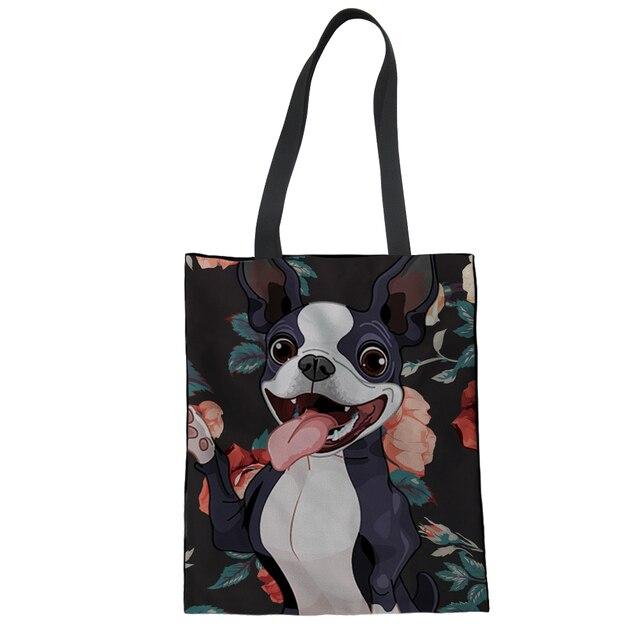05da3604c4df FORUDESIGNS Boston Terrier Printed Women Shopping Bag Reusable Tote Bag  Portable Canvas Bags Shopper Custom Folding