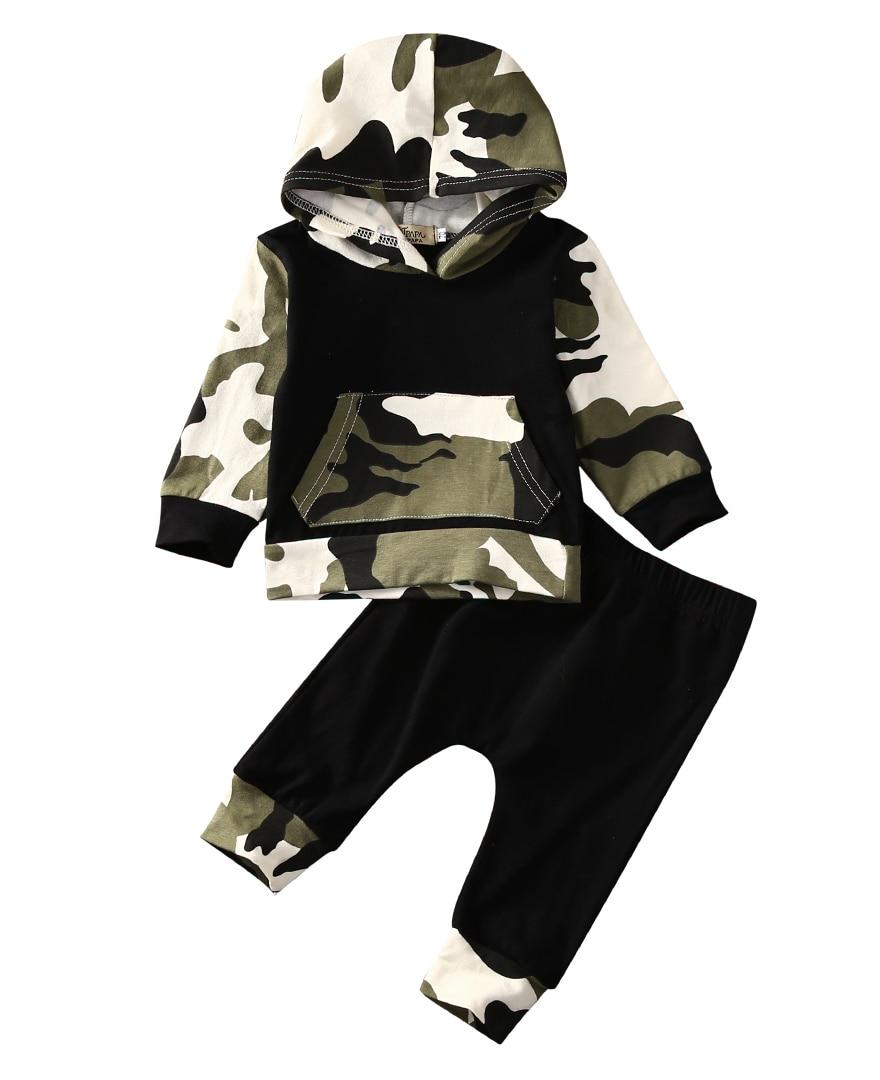 Citgeett/черные камуфляжные топы с капюшоном и карманами для маленьких мальчиков; Штаны; Комплект из 2 предметов; Повседневный хлопковый комплект одежды