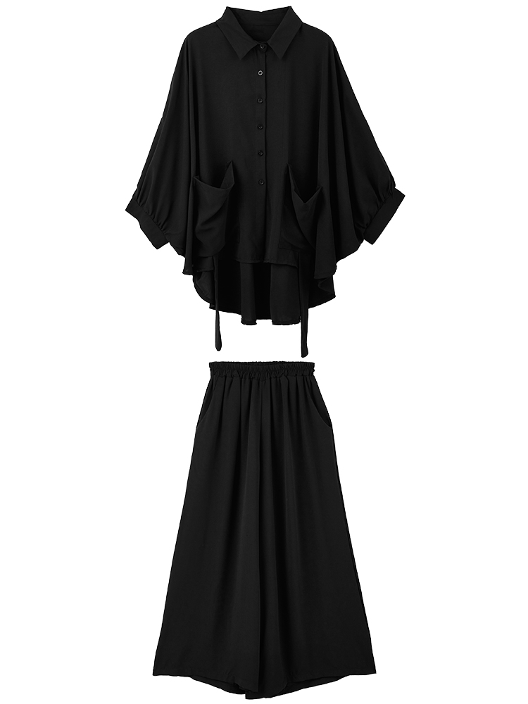 SuperAen Pluz Size for Fashion Women's Sets Spring New 2019 Casual Women Shirt Solid Color Wide-leg Pants Two-piece Female