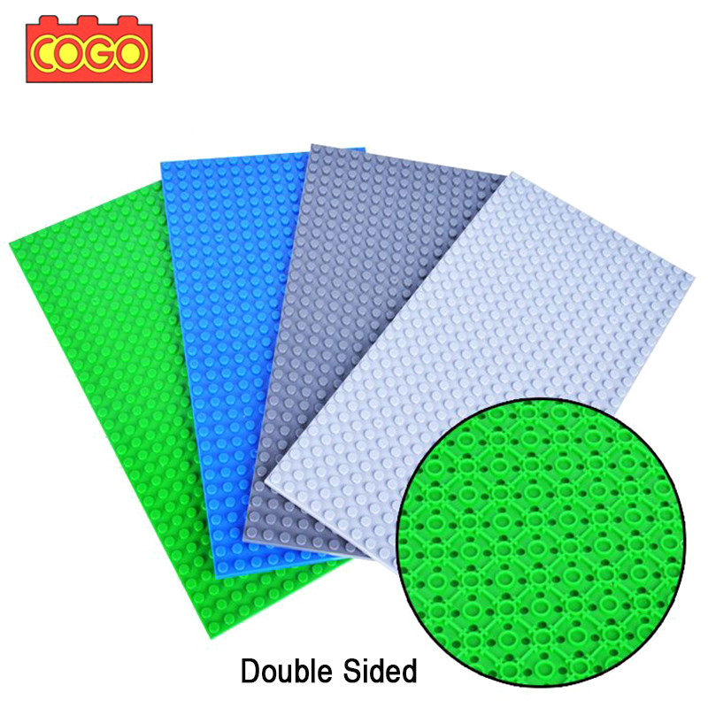 COGO 16*32 Dots Double Side Base Plate For Small Bricks Baseplate Board DIY Building Blocks Compatible with Legoing Child Toys 2017 brand new fashion big size 40 40cm blocks diy baseplate with 50 50 dots small bricks base plate green grey blue