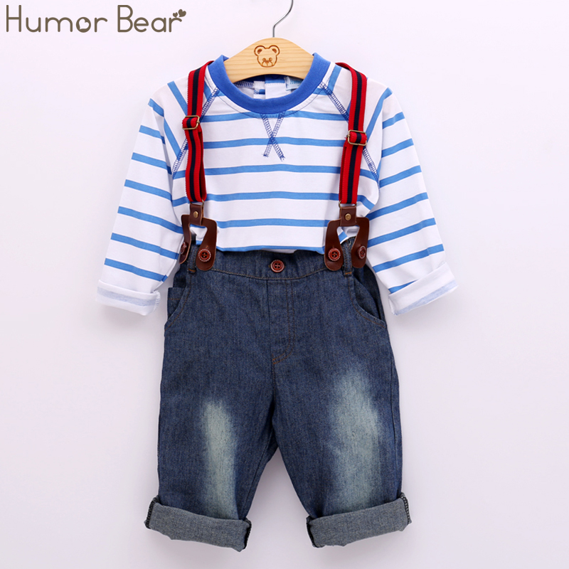 Humor Bear baby clothing set cool boys 3pcs suit (t-shirt+pant +straps) Autumn and winter infant garment kids clothes wear