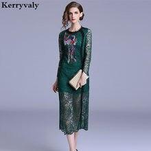 7f37da142b917 Women Green Lace Embroidery Dress Vestidos Casuales Mujer 2019 Mdi ...