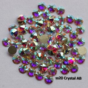 Image 3 - 1440pcs/Lot, AAA New Facted (8 big + 8 small) ss20 (4.8 5.0mm) Crystal AB Nail Art Glue On Non hotfix Rhinestones
