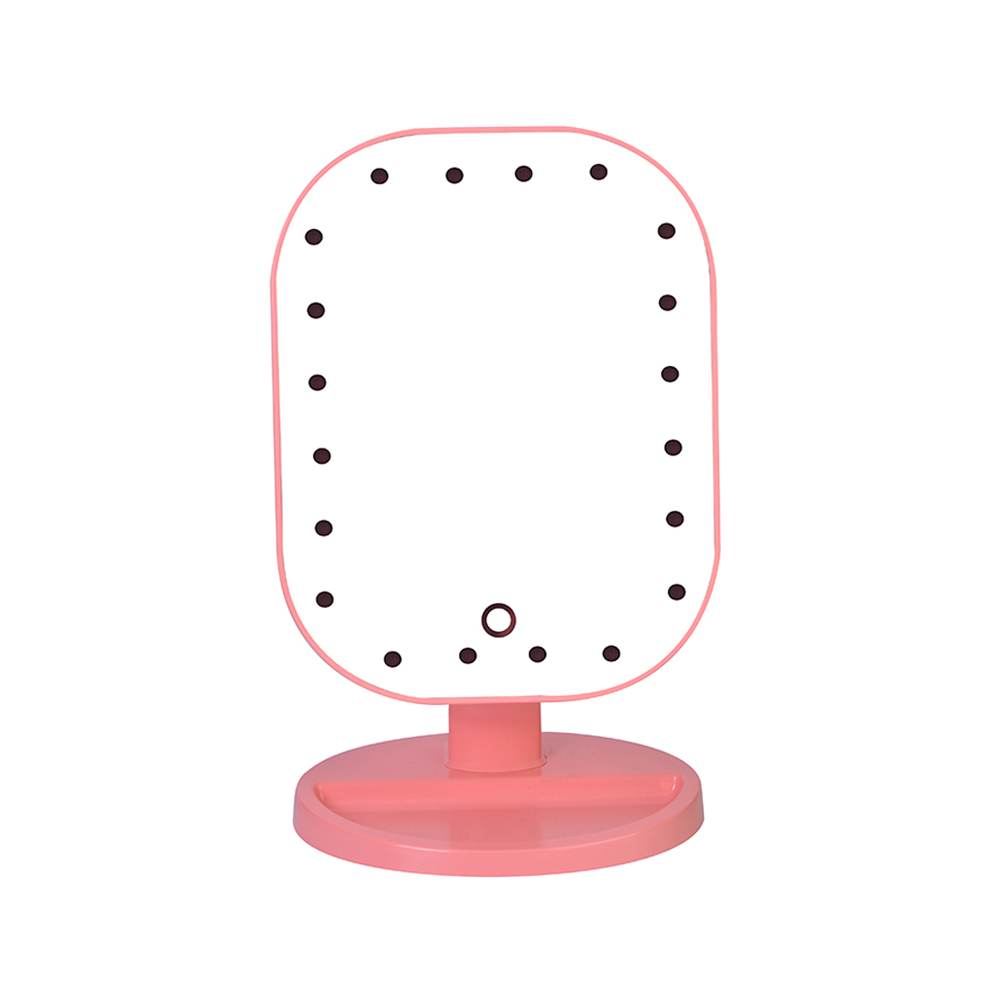 2018 Hot Sale 20 LED Light Beauty Makeup Mirror Fashion Rotatable Touch Screen Square Desk Stand Cosmetic Mirror Make Up Tools