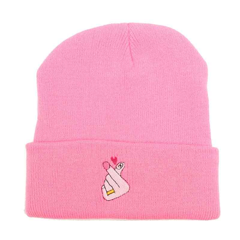 8be8d56ae626c Embroidery Love U Pattern Knit Beanies Hats for Women Winter Skully Cap  Gray Black White Blue