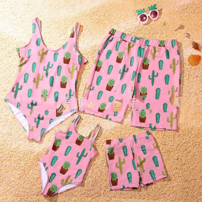 Family Cactus print beachwear swimsuit