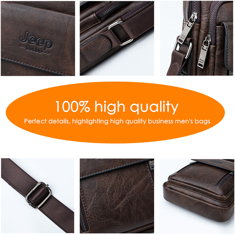 JEEP BULUO Big Brand Spilit Leather Shoulder Bag Men Messenger Bags Large Casual Double Zipper Design Male CrossBody Bag Fashion