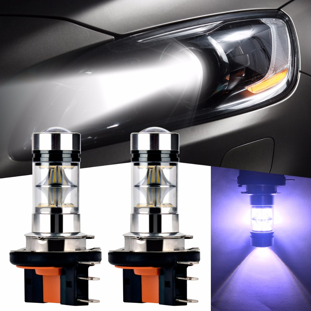2pcs H15 Xenon White LED 2323 SMD LED Bulbs for Audi BMW Benz Volkswagen Daytime Running Lights Brake Stop Lamp Headlight Fog 2 pcs h7 6000k xenon halogen headlight head light lamp bulbs 55w x2 car lights xenon h7 bulb 100w for audi for bmw for toyota