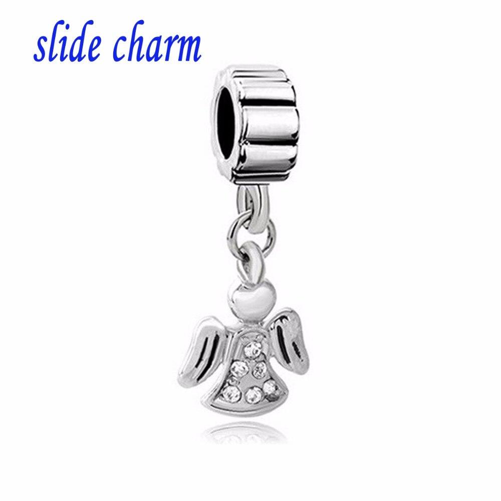 slide charm Free shipping Religious charm white crystal angel pendant beads fit Pandora bracelet