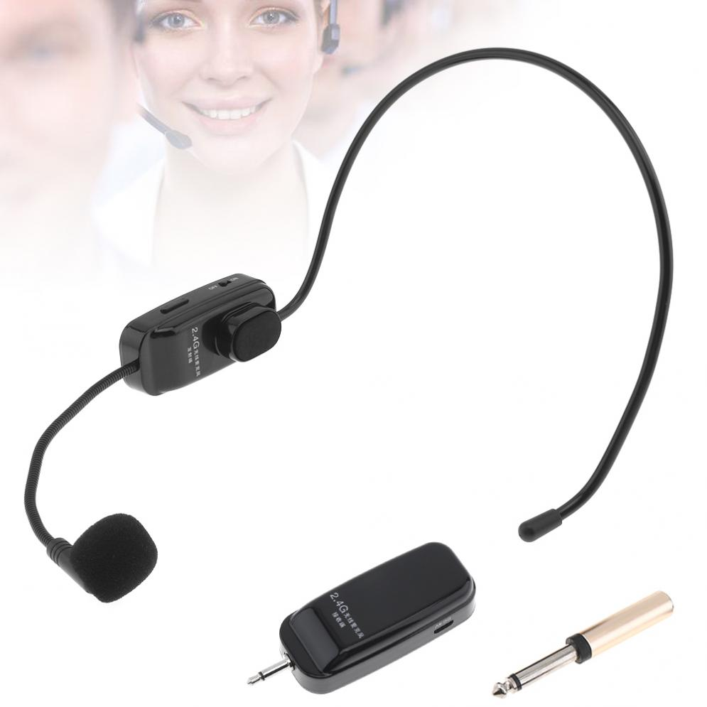 UHF Wireless Headset Microphone 2 In 1 Handheld Portable MIC Voice Changer Amplifier for Speech 3.5mm and 6.5mm Plug Receiver