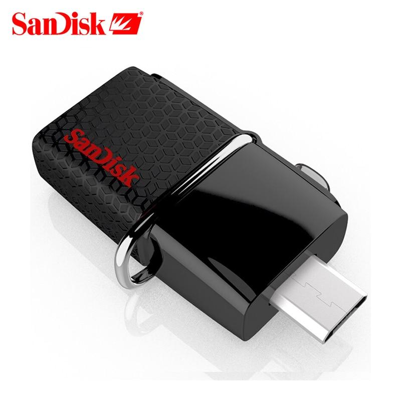 100% original SanDisk Ultra Dual OTG USB 3.0 pen Drive SDDD2 130M/S 16gb 32gb 64gb 128gb ...