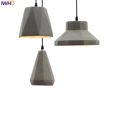 IWHD Cement Lamparas Led Hanging Lights Lamp Creative Kitchen Pendant Lights Home Lighting Fixtures Dining Luminaire Hanglamp iwhd glass bird hanglamp led pendant lights modern home lighting fixtures creative iron hanging lamp dining room luminaire