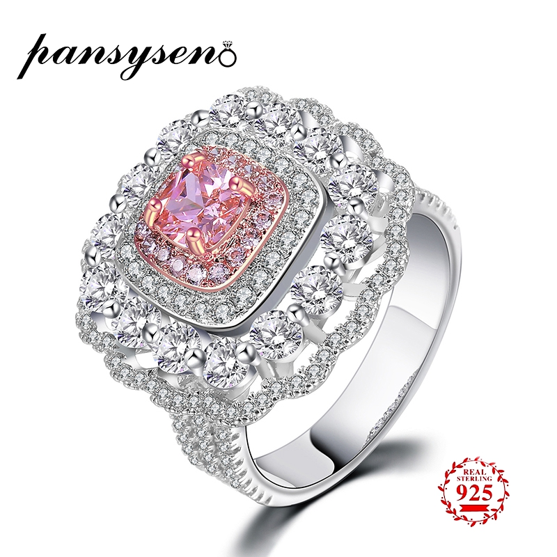 PANSYSEN 2019 New Classic Real Solid 925 Sterling Silver Ring 2Ct Pink Quartz Wedding Jewelry Rings Engagement Gifts For WomenPANSYSEN 2019 New Classic Real Solid 925 Sterling Silver Ring 2Ct Pink Quartz Wedding Jewelry Rings Engagement Gifts For Women