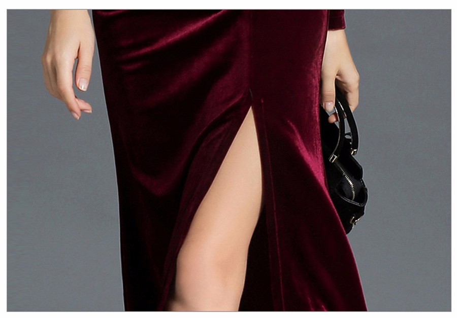 17 Autumn Winter Evening Party Dresses Red Velvet Dress Women Sexy High Split Long Maxi Dresses Christmas Runway Vestido Longo 24
