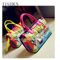 Europe and the United States 2017 summer bag paragraph tide big candy color sweet Boston handbag creative hand printed bags
