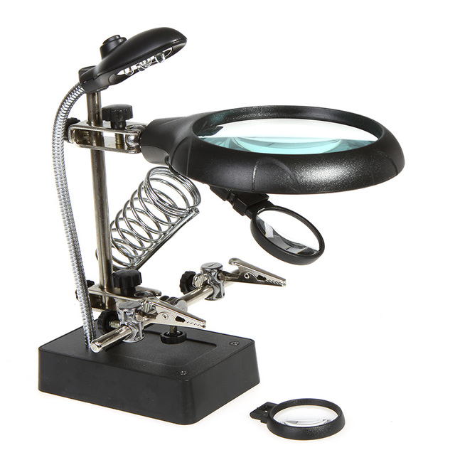 25X 75X 10X LED Soldering magnifying glass Illuminated Magnifier