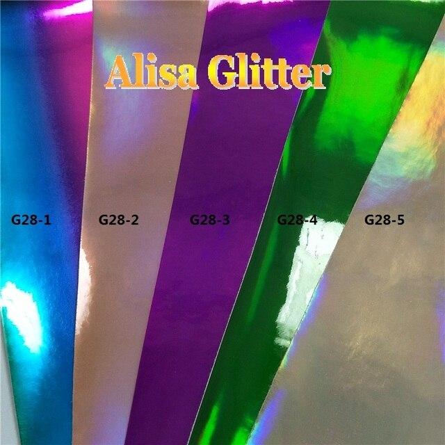 5 STKS 21X29 cm Alisa Glitter Holografische Spiegel Lakleer Regenboog Pu  lederen Stof Voor Boog DIY bfda6b67f3cb
