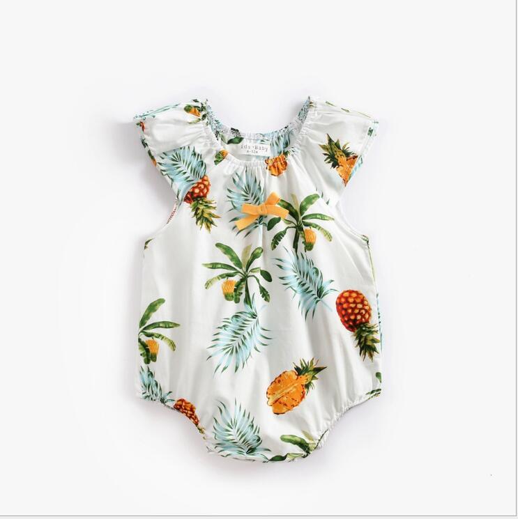 Newborn baby clothes print pineapple summer pattern kids baby bodysuit