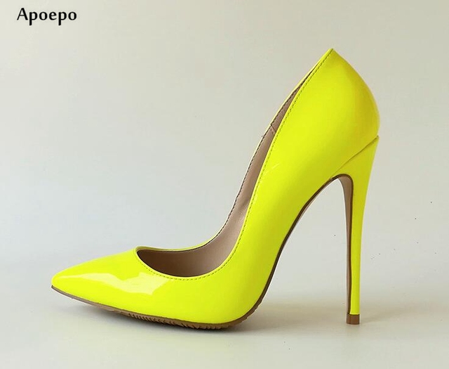 763d46c403c New Bright Lemon Green Leather High Heels for woman 2018 Sexy Pointed toe  thin heels shoes Shallow Mouth Party Heels