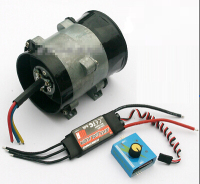 Metal ducted three phase brushless DC motor. High speed turbo fan blades