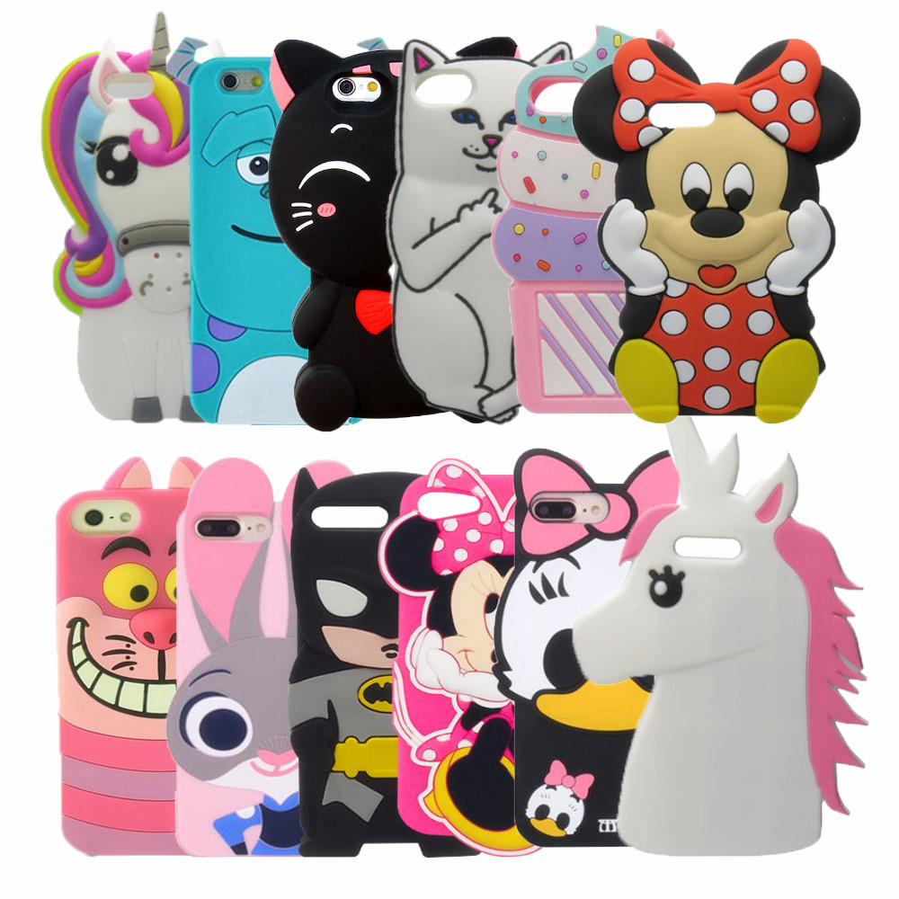 3D Cute Stitch Minnie Mouse Rubber Case For IPhone 7 6 6S Plus 5s SE Soft Silicone Cartoon Cover
