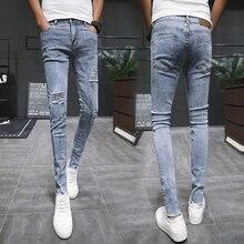 Summer New Skinny Jeans Men Stretch Slim Fashion Tear Hole Denim Pants Man Streetwear Casual Wild Hip Hop Trousers Male Clothes