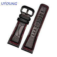 High Quality Ostrich Skin Leather Watchband 28mm Mens Fashion Black Brown Watch accessories Strap Bracelet