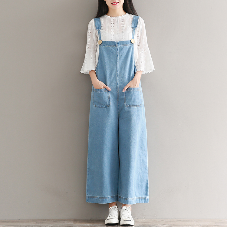 Mori Girl Sweet Overalls Jeans 2017 New Summer and Autumn Plus Size Jeans Denim Pants Women Loose Wide Leg Pants S-3XL 4XL 5XL 2016 new mori girl national trend loose plus size with a hood denim autumn and winter women medium long plus cotton thick vest