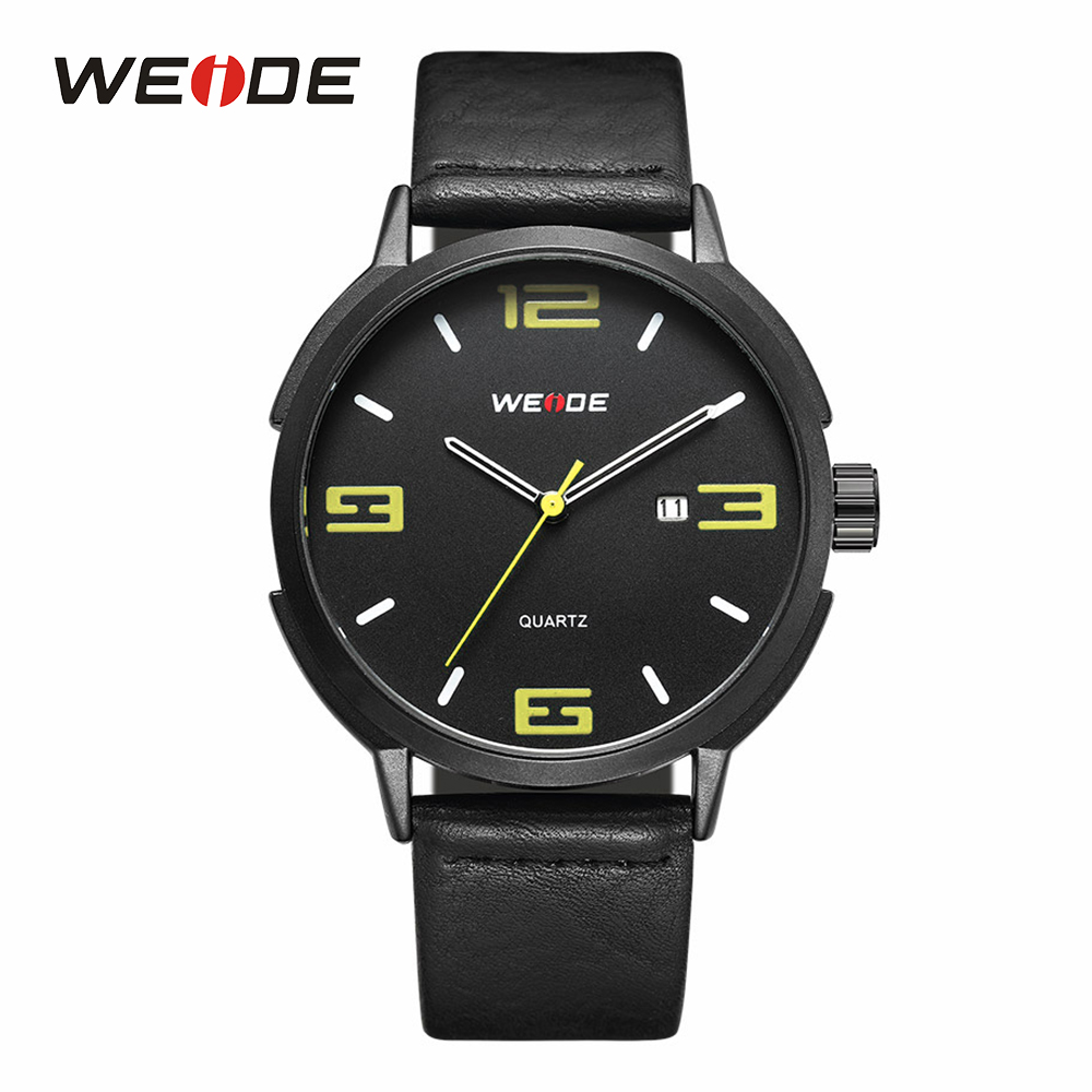 WEIDE Mens Sports Watches Outdoor Calendar Quartz Analog Auto Date Man Male Clock Black Wristwatches Black Leather Strap